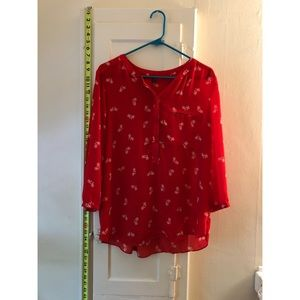 Red Blouse With Bike Print
